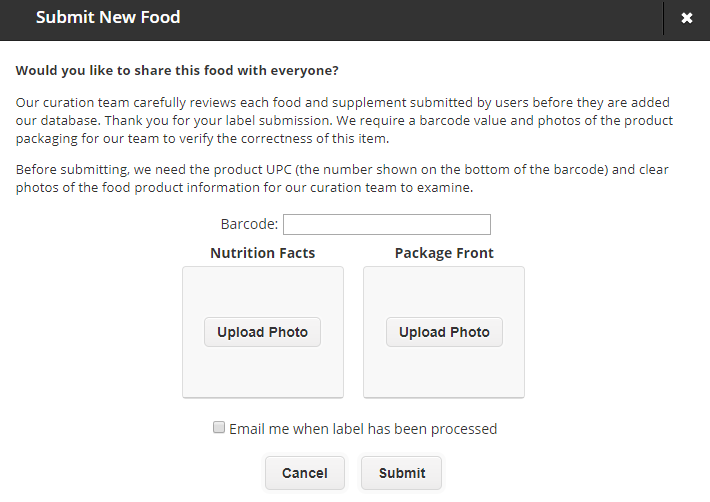 Publishing a food to the CRDB Database