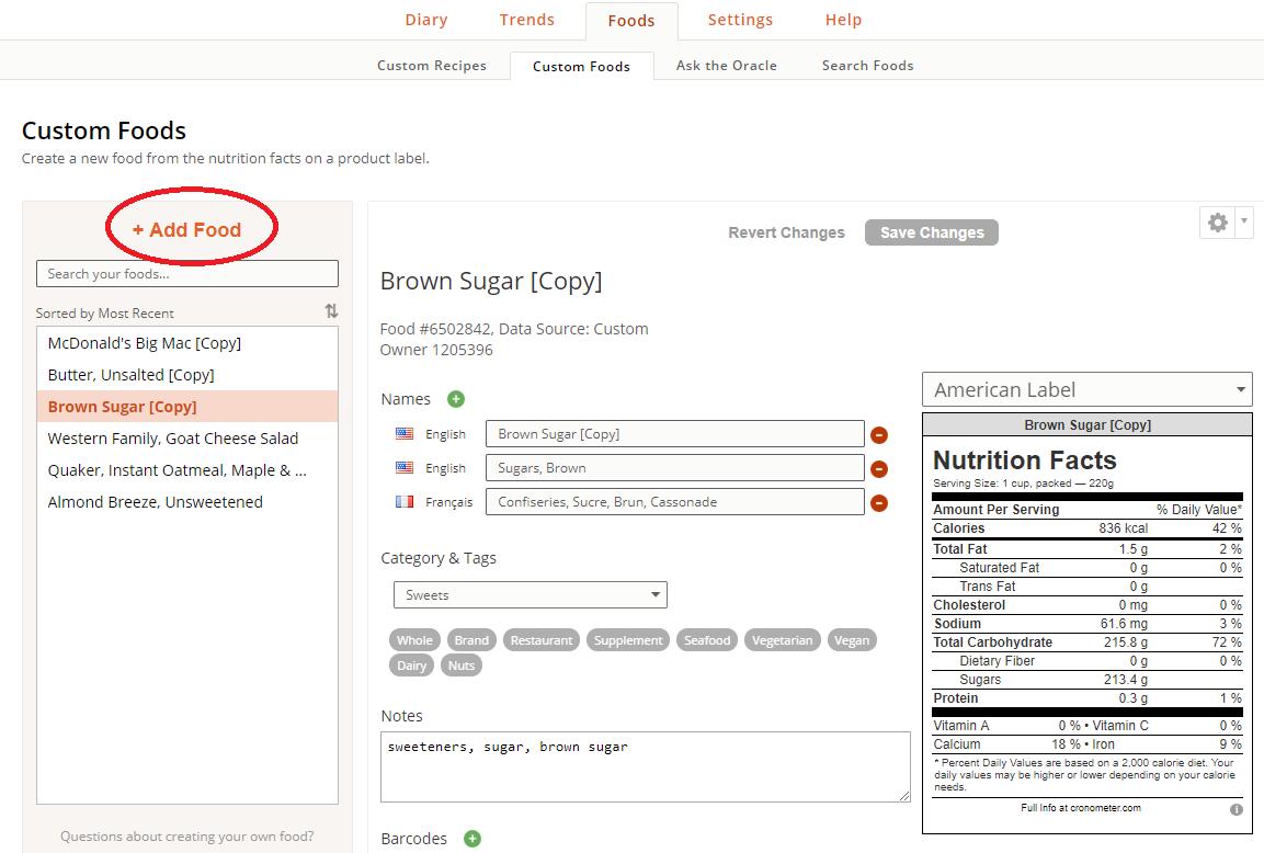 Create a Custom Food – Cronometer